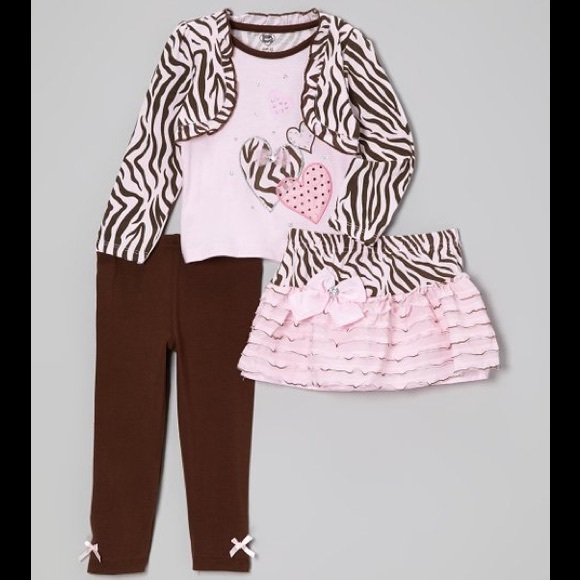 Young Hearts Other - Young Hearts Pink & Brown Zebra Layered Top Set